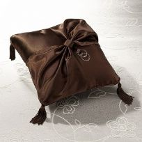 Brown Satin Wedding Ring Cushion